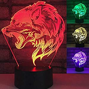 Jinnwell 3D Wolf Tiger Animal Night Light Lamp Illusion Night Light 7 Color Changing Touch Switch Table Desk Decoration Lamps Gift Acrylic Flat ABS Base USB Cable Toy Led