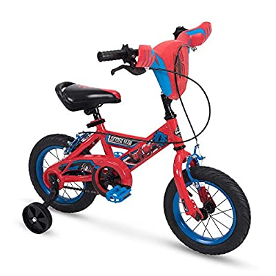 Huffy 12 inch Spider-Man Kid Bike, Handlebar Plaque, Quick Connect, Red, 12 inch