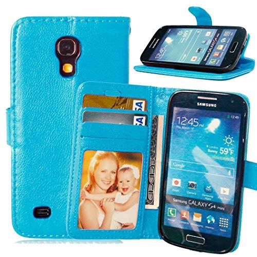 JEEXIA® Etui Schutzhülle Für Samsung Galaxy S4 Mini (i9190) 4.3 Zoll, Mode Geschäft PU Leder Lederhülle Flip Cover Brieftasche Innenschlitzen Mit Stand Function Design - Blau