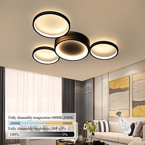 ZMH LED Deckenleuchte dimmbar mit Fernbedienung 52w 61.5cm schwarze Wohnzimmerlampe aus Metall und Acryl moderne Deckenbeleuchtung Ring-Design für Schlafzimmer Wohnzimmer Esszimmer Büro Flur Balkon