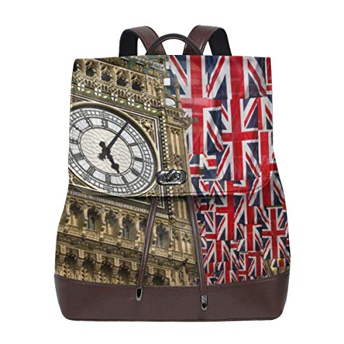 Flyup Union Jack Flags And Big Ben Womens Leather Backpack Vintage Laptop Backpack Travel Daypack College School Bookbag For Women Girls & Students Mochila de cuero para mujer