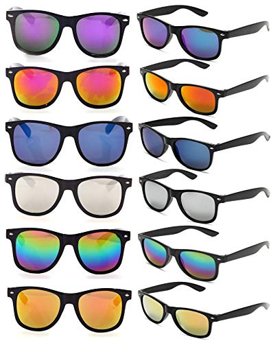 12 Pack of Neon 80s Style Mirror Lens Sunglasses