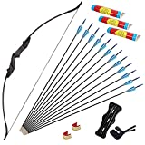 SPG Archery Takedown Recurve Bow and Arrows Set Adult Longbow Kit for Beginner Outdoor Hunting Shooting Training,6Pcs Fiberglass Arrows. (20LB, Right Hand)