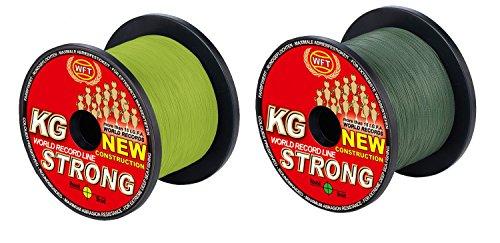 WFT KG STRONG 600m 0,08mm 10kg, geflochtene Schnur, Meeresschnur, Angelschnur, Geflechtschnur, Farbe:Gelb