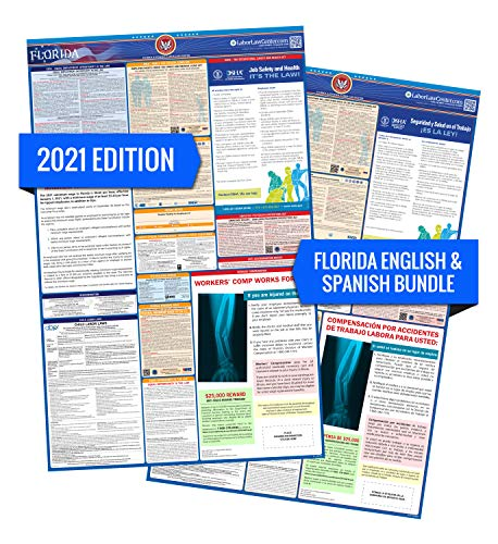 FL Labor Law Poster, 2021 Edition - State, Federal and OSHA Compliant Laminated Poster (Florida, English & Spanish Bundle)