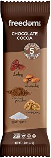 Freedom Bar, Healthy Fruit and Nut Bar - Dairy and Gluten Free, Organic Energy Snack - 15 Bars, Chocolate Cocoa Flavor