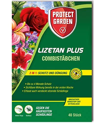 PROTECT GARDEN Lizetan Plus Combistäbchen Schädlingsfrei gegen Blattläuse und andere saugende Schädlinge und Premium-Dünger in Einem, 40 Stück