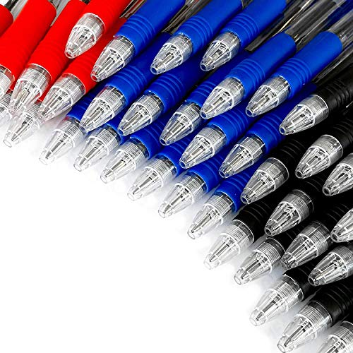 Penna a sfera a scatto Z Grip, confezione risparmio da 40 pezzi, colori: nero, blu e rosso