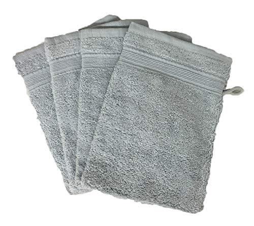 Alpes Blanc Lot de 10 Gants de Toilette 600gr/m² 100% Coton/Set de 10 Gants de Toilette Ultra-Confort (Gris/Grey)