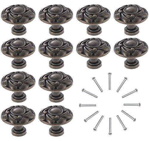Kyrio 12 Stück Vintage Schrankknäufe Antik Schubladen Knöpfe Runde Möbelgriffe Messing Schrank Knöpfe für Tür Küche Kommode Bronze (S (22 x 26 mm)