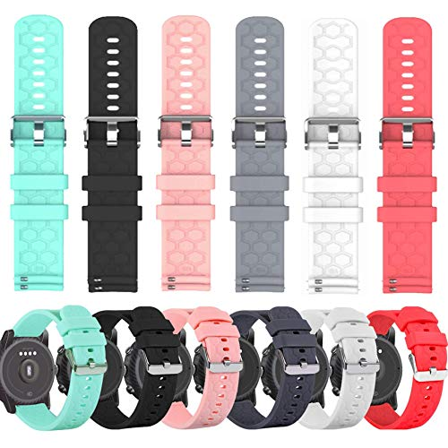 """6-Pack Soft Silicone Bands Compatible with AGPTEK LW11 Smart Watch, Quick Release Replacement Bands Sport Wristbands for AGPTEK 1.3""""/33mm Smart Watch Bands Women&Men"""