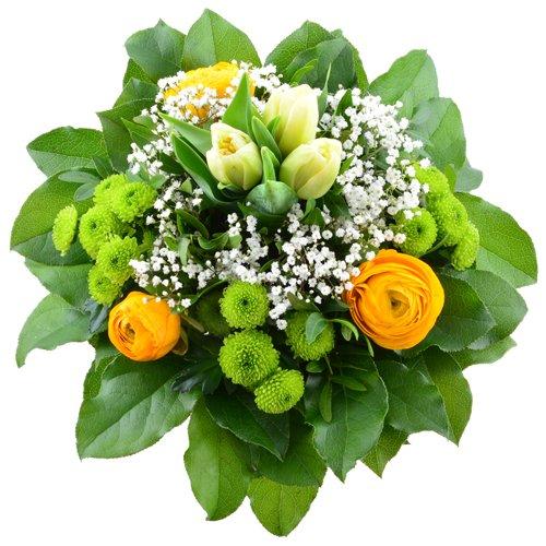 Blumenversand im Frühling - Blumenstrauß - Frühlingsfarben - creme Tulpen und gelben Ranunkeln mit Gratis - Grußkarte zum Geburtstag - Deutschlandweit versenden