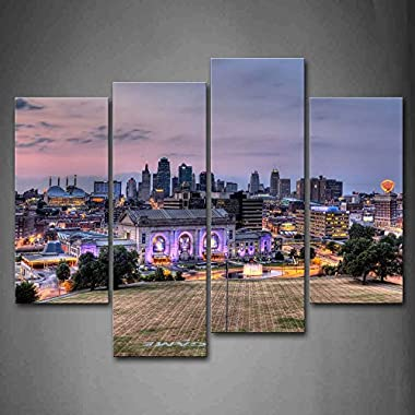 Buildings Of Kansas City With Wide Square Wall Art Painting Pictures Print On Canvas City The Picture For Home Modern Decoration
