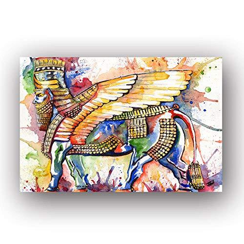 MhY Acuarela Abstracta Pintura al óleo Rey Arte de la Pared Lienzo Pintado Cabeza Humana ala Esfinge Cartel Decoración para el hogar Imágenes para Sala de Estar Sin Marco 30x40 cm