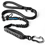 IOKHEIRA Dog Leash, 4-in-1 Multifunctional Dog Leashes for Medium & Large Dogs with Car Seat Belt, 4-6 FT Strong Bungee Dog Leash (Black, Bungee Dog Leash with Safety Seatbelt)