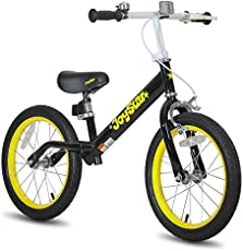 """JOYSTAR 16"""" Balance Bike for Big Kids 5, 6, 7, 8 and 9 Years Old with Rubber Tire and Adjustable seat and Front Handbrake, Black"""