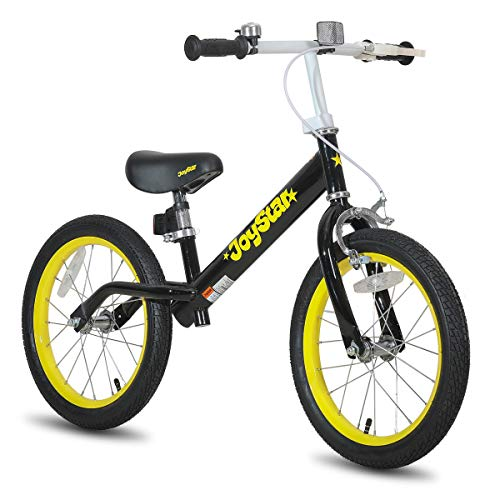 JOYSTAR 16' Balance Bike for Big Kids 5, 6, 7, 8 and 9 Years Old with Rubber Tire and Adjustable seat and Front Handbrake, Black