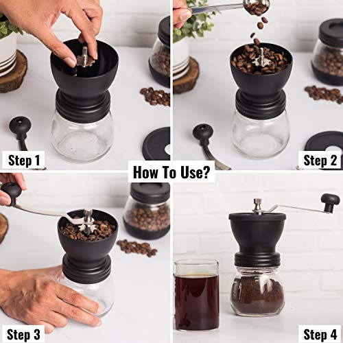 InstaCuppa Manual Coffee Bean Grinder, Hand Coffee Mill with 2 Glass Jars Ceramic Burr Stainless Steel Handle for Aeropress, Drip Coffee, Espresso, French Press, Turkish Brew
