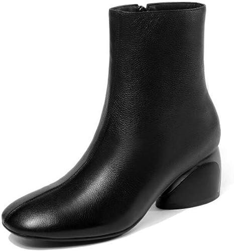 Zxcer Schuhe Damen Stiefel Damen Komfortable Mid-Heel Stiefel Damen Damen Damen Herbst und Winter Runde Kopf Martin Stiefel High-Heels Stiefel  gemütlich