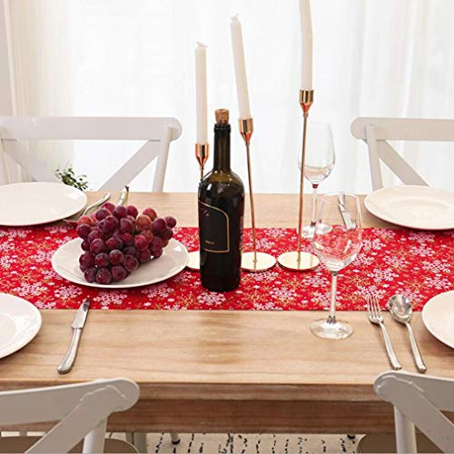 Sollarisy Christmas Table Runner Red Snowflake Embroidered Linens for Xmas Decorations Holiday Home Decoration