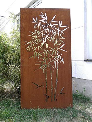 Zen Man Edelrost Garten Sichtschutz aus Metall Rost Gartenzaun (Gartendeko Edelrost) Sichtschutzwand H150*75cm 031915-2