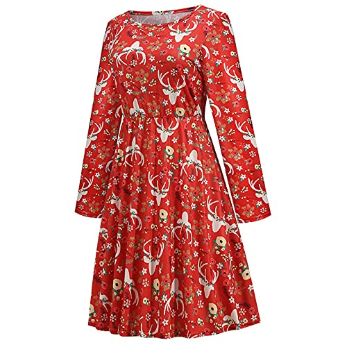 Dubras Women Christmas Dress Snowflake Print Xmas Eve Holiday Wedding Formal Party Dresses Fashion Pleated Skirt Party Short Dress Red