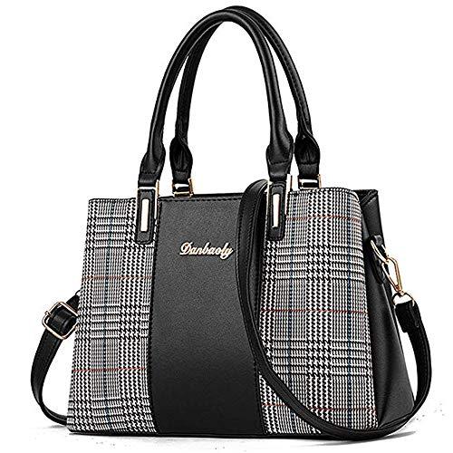 Handbags for Women, Ladies Top Handle Satchel Shoulder Bag, Multi-color Assorted Design Tote Purse (black)