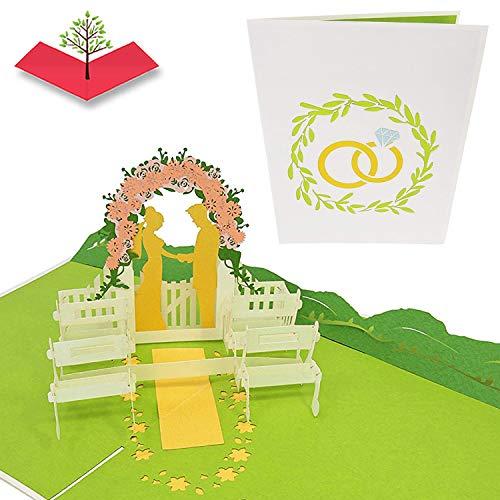 PopLife Cards Boda alter escena 3d popup tarjeta de felicitación para cualquier ocasión invitación de boda, tarjeta de aniversario, tarjeta de compromiso pliegues plana para enviar tarjeta de regalo