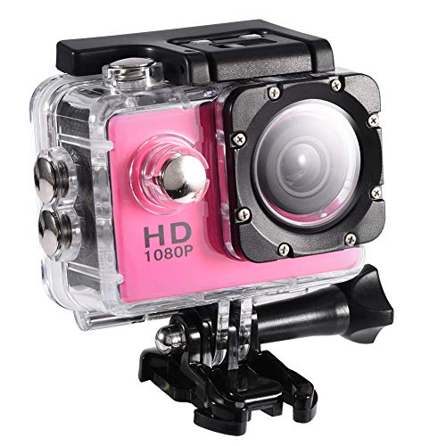 Vbestlife Action Camera, Waterproof Cam 2.0'' LCD Screen Full HD 1080P Outdoor Cycling Sports Action Camera DV Camcorder(Pink)