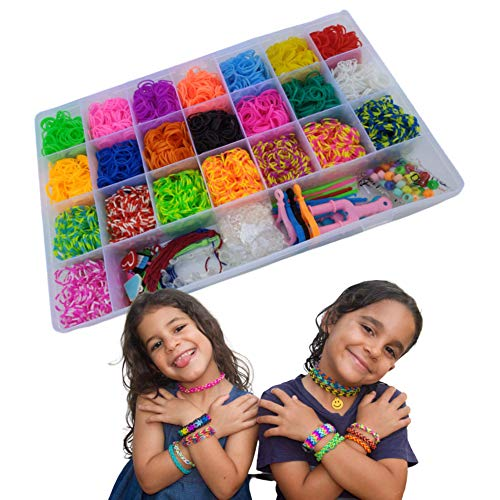 Rainbow Colorful Loom Set, Premium Rubber Band Necklace Bracelet Making Kit, DIY Band Jewelry for kids, Toys For 5, 6, 7, 8, 9 Year Old Kids Boys & Girls, Gift Box, Special Accessories, Improve Skills