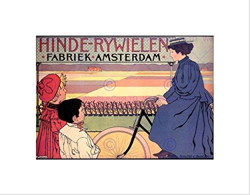 Wee Blauw Coo Advert Stof Vrouw Fiets Kids Veld Amsterdam Omlijst Muur Art Print