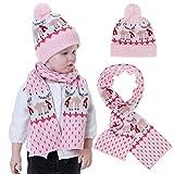 Shenruifa - Juego de bufandas para niños, otoño/invierno para bebés y niñas de punto cálido, para bebés de 1 a 4 años