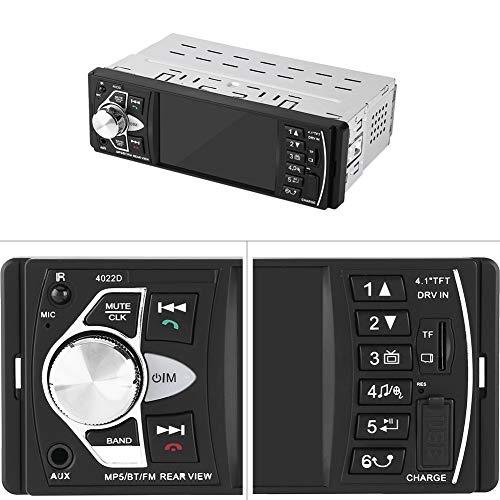 Lettore video per auto, Vivavoce Bluetooth HD da 4,1 pollici Lettore MP5 per auto Riproduzione video Radio FM Scheda di memoria AUX Telecomando USB Stereo singolo Din con Bluetooth((Without Camera))