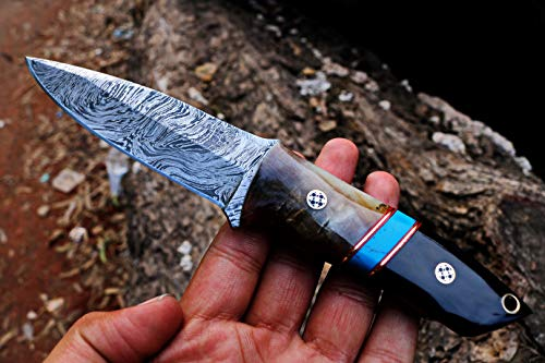 Black Mamba Knives Bmk-159 Turquoise Sea Damascus Knife 8 Inches Long 4 Inches Blade 12 Ounce...
