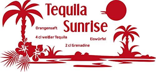 GRAZDesign Wanddeko Küche Esszimmer Cocktail - Sprücheküche Wandtattoo Bar - Wandtattoo Küche Tequila Sunrise / 87x40cm / 031 rot