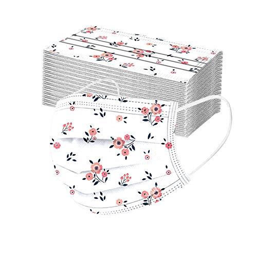 Rabbiter 50 Stück Erwachsene Einweg Mundschutz Multifunktionstuch Bedruckt Einmal Mundschutz Bunt 3-lagig Mund Nasenschutz Blumen Motiv MNS Maske Tücher Halstuch