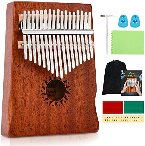 Donner Kalimba Thumb Piano 17 Keys, Portable Mbira Colimba Music Finger Piano Gifts for Kids and Adults Beginners with Tuning Hammer and Study Instruction,Sanza Musical Instrument Professional DKL-17