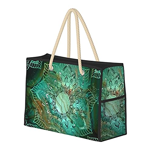 Bolsas de playa para mujer, diseño de mandala, color turquesa, cobre y plata, gran bolsa de playa, bolsa de viaje, bolsa de viaje, bolsa de semana, bolsa de hombro, para playa, viajes, gimnasio, etc