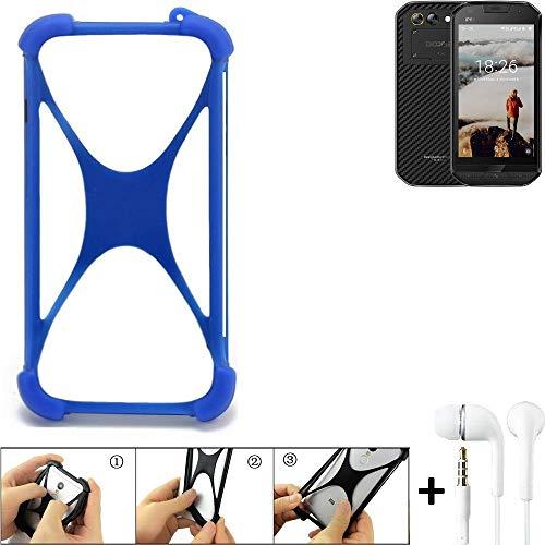 K-S-Trade® Bumper Für Doogee S30 Schutzhülle Handyhülle Silikon Schutz Hülle Cover Case Silikoncase Silikonbumper TPU Softcase Smartphone, Blau (1x), Headphones