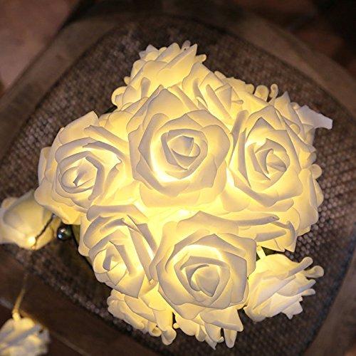 CozyHome - Guirnalda de luces LED con diseño de rosas blancas, batería de 4 m, 20 flores de color blanco cálido, decoración para dormitorio, boda, tocador, funciona con pilas