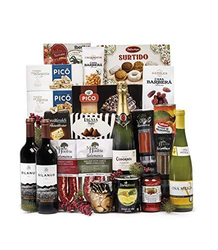 Sadival Lote de Navidad Barato con Ibéricos, Cava, Vino, Variedad de turrones y dulces y Productos variados