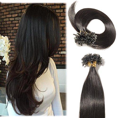 "100 Strands 16-22"" U Tip Hair Extensions Pre Bonded Keratin Nail Straight 100% Human Hair Natural Black Long Straight(0.5g/s) 50g(16"" #1B)"