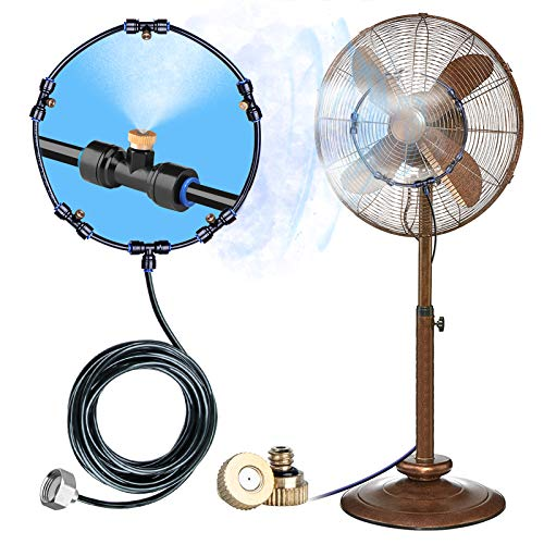 HOMENOTE Fan Misting Kit for a Cool Patio Breeze 19.36FT (5.9M) Misting Line &5 Removable Brass Nozzle & Galvanized Solid Brass Adapter, Connects to Any Outdoor Fan fan misters for cooling outdoor