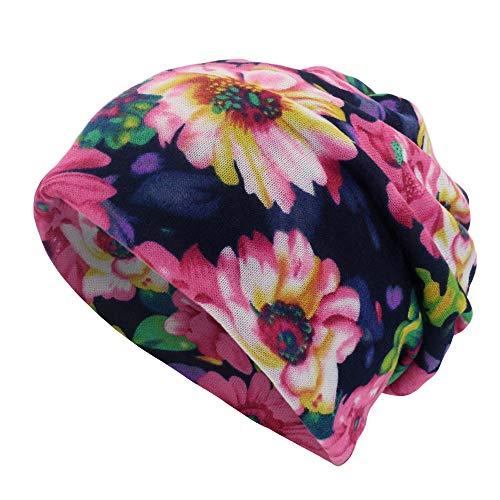 Damen Mütze Schal 2 in 1 Kolylong Mädchen Blumen Muster Beanie Warm Weich...