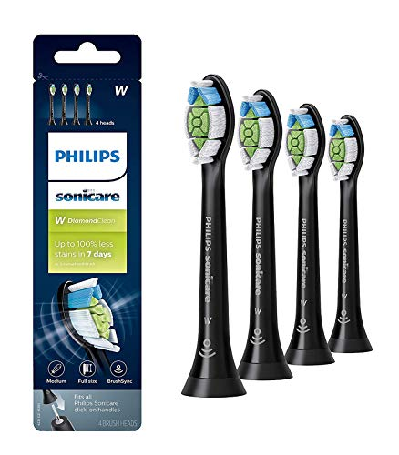 W2 Replacement Brush Heads HX6064 DiamondClean Compatible with Philips Sonicare Toothbrush Handles (Black-4 counts)