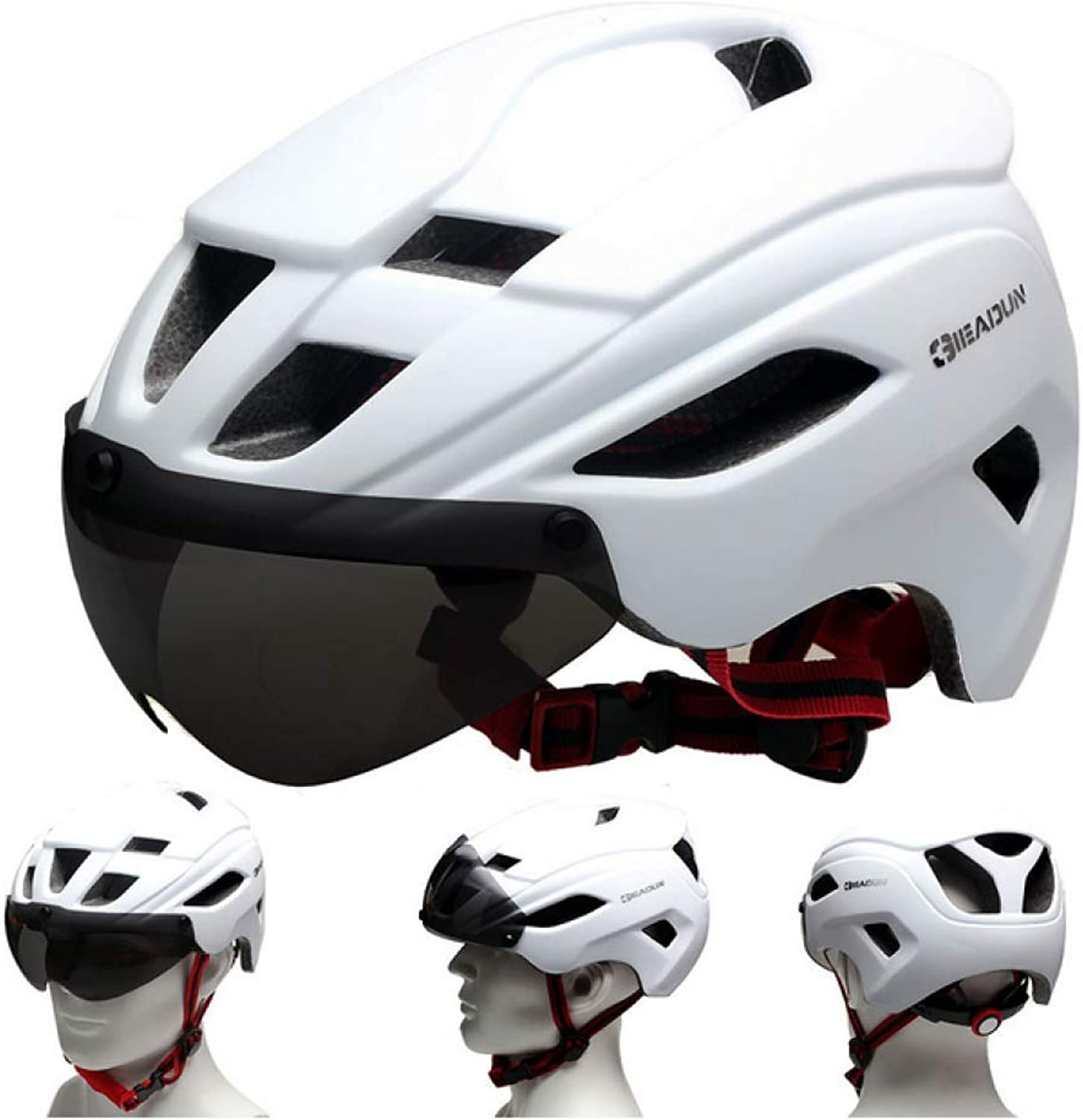 New Lens Magnetic Bicycle Helmet Riding Helmet Outdoor Sports Goods,White-OneSize