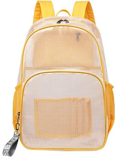 Mygreen Heavy Duty Clear Backpack Durable Multi-Pockets See Through Student School Bookbag Waterproof Transparent Beach Girls Travel Bag (Yellow, Large)