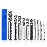ASNOMY 10 pz Punte per Fresatura 4-flute End Mill bit, HSS CNC codolo cilindrico punte cutter Tool set per legno alluminio acciaio titanio, 2/3/4/5/6/7/8/9/10/12mm