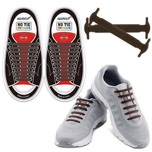 Homer No Tie Shoelaces Schalten Sie Ihre Schuhe in Slip-on wasserdichte Silikon Lauf Shoelaces Multicolor Schnürsenkel Perfekt für Camper Männer Erwachsene und Kinder - Brown