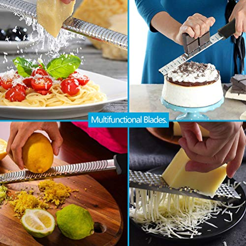 Pack of 3 Kitchen Graters, Stainless Steel Lemon Zester, Cheese Grater and Shredder, Non-Slip Ergonomic Handle, Kitchen Tool for Grating Chocolate, Ginger, Citrus, Lime Nutmeg and Many More (BLACK)